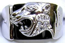 18K GOLD EP CZ ROUND CUT MENS PANTHER DRESS RING sz  12 or Y