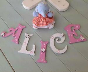 *ANY NAME & COLOURS* Personalised Painted Wooden Letters Door Toy Box #15#