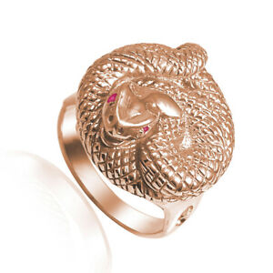 MAN'S WOMAN'S SNAKE RUBY EYE SERPENT RING 14K GOLD $1199.00