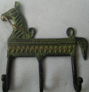 Wall hanging hooks brass metal coat hanger vintage horse shape rack key holder
