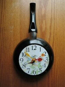 Bird Frying Pan Clock Unique Gift Kitchen Stylish Wall Clock Hand Made