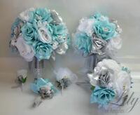 17 Piece Package Wedding Bridal Bouquet Silk Flowers Set BABY BLUE SILVER AQUA