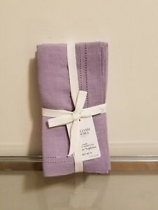 Williams Sonoma Linen Double Hemstitch Dinner Napkins Lilac Set of 4 NEW
