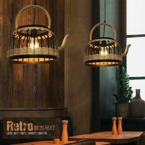 French Country Black Metal Hemp Rope Teapot Shade Kitchen Ceiling Pendant Lights