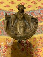 "ANTIQUE BRASS ASIAN LADY "" THE YELLOW PERIL "" RISQUE BARE BOTTOM ASH TRAY/DISH"