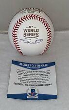 Travis Wood Chicago Cubs signed 2016 World Series Baseball Ball BAS Beckett