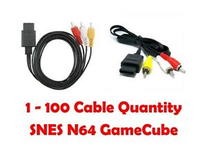 1-100 LOT for SNES Nintendo 64 N64 Gamecube AV Cable Audio Video Cord Wire A/V