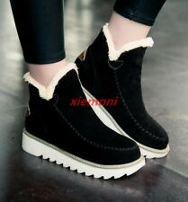 Womens Shoes Ankle Snow Boots Warm Fur Lined Winter Round Toe Slip On Cotton Sz