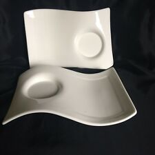 Villeroy & Boch 1748 New Wave Set of 2 White Snack Plates Made in Germany EUC