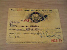 "Vintage 1924-25 B.P.O. ""ELKS"" Lodge Member CARD~Santa Cruz CA~Ephemera~"