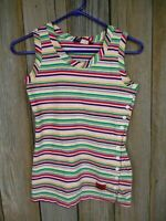 Vintage Oleg Cassini Women's Sleeveless Striped Shirt Size M