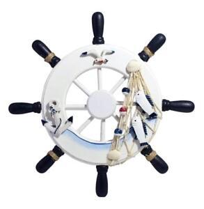 Nautical Wooden Ship Sailboat Boat Steering Wheel Fishing Net Home Decor 13 inch