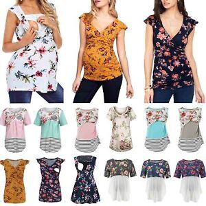 Pregnant Women Maternity Breastfeeding Nursing Floral Tops Short Sleeve T-Shirts