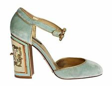 NEW $1240 DOLCE & GABBANA Shoes Green Velvet Gold Leather Ankle Strap EU39/US8.5