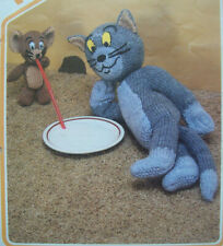 TOM & JERRY TOY KNITTING PATTERN DK CAT MOUSE ANIMAL Vintage 40cm 15cm  2542