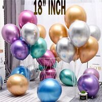 2pcs 18'' Metallic Latex Chrome Balloons Helium Wedding Birthday Party Decor UK