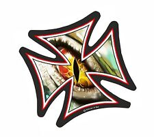 IRON CROSS & Evil Eye Monster Watching Motif Biker vinyl car Helmet Sticker 95mm