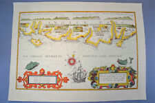 Vintage Marine chart sheet map of Sea coast of England Isle of Wight to Dover