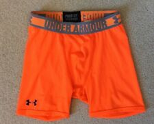 Boys Under Armour Heat Gear Fitted Athletic Shorts Neon Orange Black Ymd