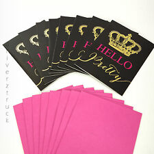"""JUICY COUTURE Limited Edition 8-PIECE Blank CARD SET """"Hello Pretty"""" GOLD CROWN"""
