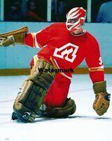 NHL 1970's Atlanta Flames Goalie Dan Bouchard Flame Mask Color 8 X 10 Photo