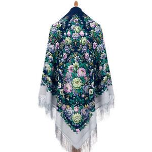 Pawlow Posad/Pavlovo Posad russischer Schal-Tuch Tradition146x146 Wolle 1953-15