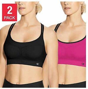 New Champion 2 Pack Criss Cross Seamless Sport Bras Pink/Black
