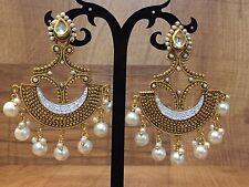 New Indian Pakistani Ethnic Half Chand Pearl Moti White Jhumki Bali Drop Earring
