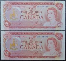 BANK OF CANADA - 1974 $2 - 2 CONSECUTIVE NOTES - Prefix UC - Lawson & Bouey