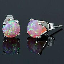 1.3ct Fiery Australian Pink Angelskin Opal Crown Set Stud Earrings 925 Silver