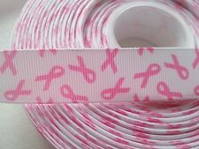 "WHITE W/PINK BREAST CANCER RIBBON-GROSGRAIN-AWARENESS-LANYARD-HAIRBOW-7/8""X1YARD"