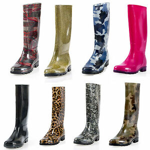 Pally Womens Flat Rain Boots Rubber Snow Mid Calf  Waterproof Rainboots