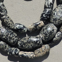 27 inch 69cm strand old granite gneiss african stone beads dogon mali #3989