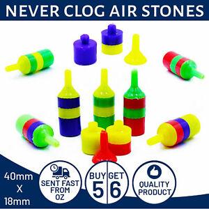 Never Clog Air Stones For Aquarium & Fish Tank. Decoration & Aeration. Lot Of 6