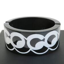 Auth CHANEL Coco Gabrielle Logo Bracelet Plastic 17B Black Accessory 61ET281