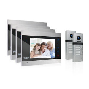 "TMEZON Multi-family Wired Video Door Phone Doorbell Intercom System 7"" Monitor"