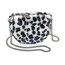 Faux Fur Look Chain Bags Clutch Handbag Golden Chain Silver