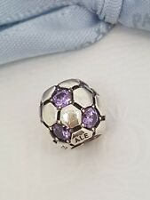 Authentic Pandora Purple CZ Soccer Ball Football Charm Bead 790444ACZ