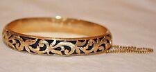 Antique Handmade 14K Yellow Gold & Blackened Background Filigree Bangle Bracelet