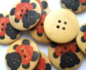 5 x Teddy Bear 4 Hole Sewing Buttons Craft Embellishments, Scrapbook 30mm