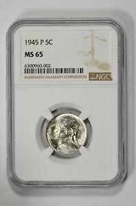 1945 P 5c Jefferson Nickel NGC MS 65