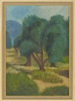 E.S. - Signed & Framed Contemporary Oil, Summer Landscape Scene