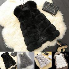 Women's Warm Gilet Outwear Long Slim Vest Faux Fox Fur Waistcoat Jacket Coat EW