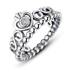 Princess Crown Silver Rhinestone Love Heart Ring Women Girls Queen Tiara Gift FT