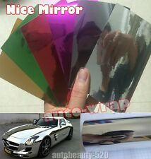 1 Set Samples - Auto Glossy Chrome Mirror Vinyl Wrap Sticker Film Sheet Air Free