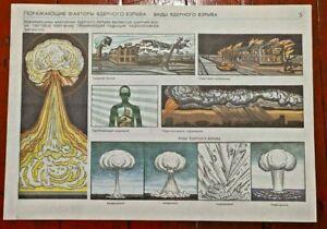 VTG Soviet Poster Nuclear Explosion Chernobyl Radiation Assault USSR ATOMIC RARE