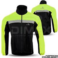 Mens Cycling Jacket Hi Visibility Waterproof Running Top Rain Coat S to 2XL