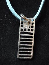 "Mackintosh Chair Back Fine English Pewter On a 18"" Blue Cord Necklace codew19"
