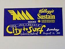 New listing VINTAGE SUN HERALD KELLOGS SUSTAIN MMM CITY TO SURF ADVERTISING PROMO STICKER