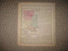 ANTIQUE 1868 MISSISSIPPI LOUISIANA ARKANSAS HANDCOLORED MAP DETAILED SUPERB RARE